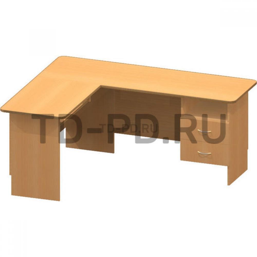 Стол офисный угловой с нишей (с панелью для клавиатуры)