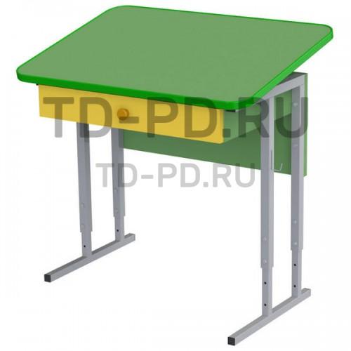 Стол-парта ученическая 1-местная с ящиками и наклон. столеш. на рег. ножках, 3-4-5 гр.