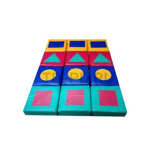 Набор папок мягких модулей с аппликациями – геометрические фигуры (цветные)