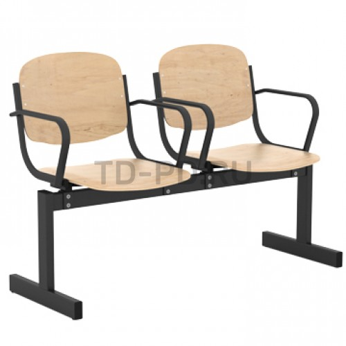 Блок стульев 2-местный, жесткий, не откидывающиеся сиденья, с подлокотниками