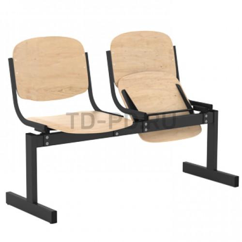 Блок стульев 2-местный, жесткий, откидывающиеся сиденья