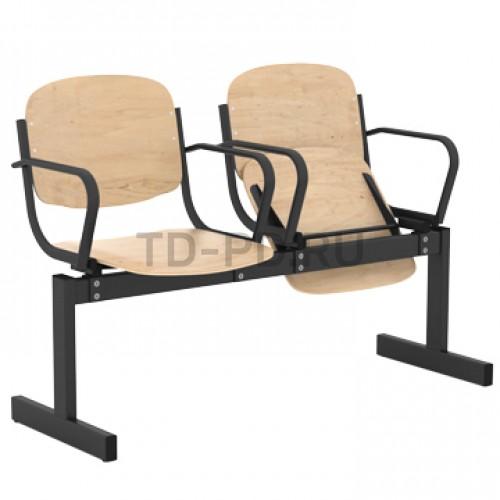 Блок стульев 2-местный, жесткий, откидывающиеся сиденья, с подлокотниками