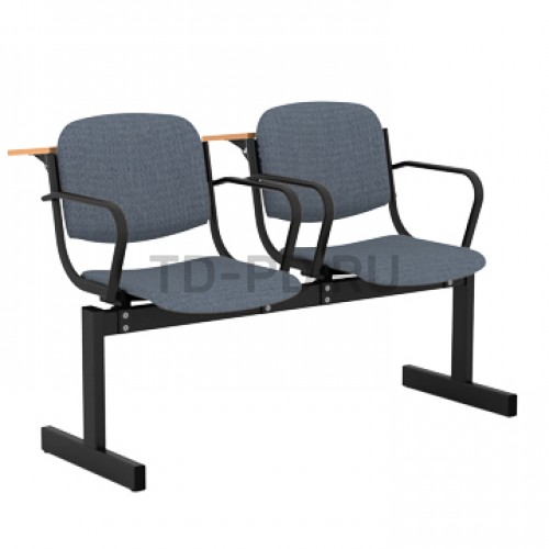 Блок стульев 2-местный, мягкий, не откидывающиеся сиденья, с подлокотниками