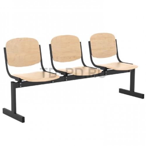 Блок стульев 3-местный, жесткий, не откидывающиеся сиденья
