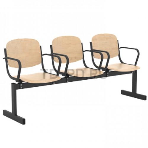 Блок стульев 3-местный, жесткий, не откидывающиеся сиденья, с подлокотниками