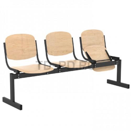 Блок стульев 3-местный, жесткий, откидывающиеся сиденья