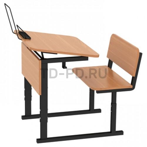 Парта ученическая 1-местная регулируемая по высоте и наклону столешницы 0-10°
