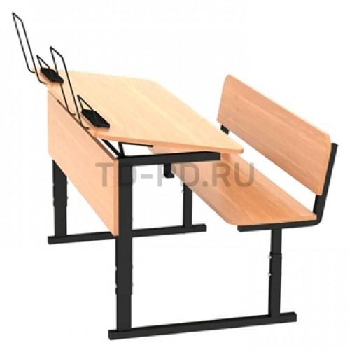 Парта ученическая 2-местная регулируемая по высоте и наклону столешницы 0-10°