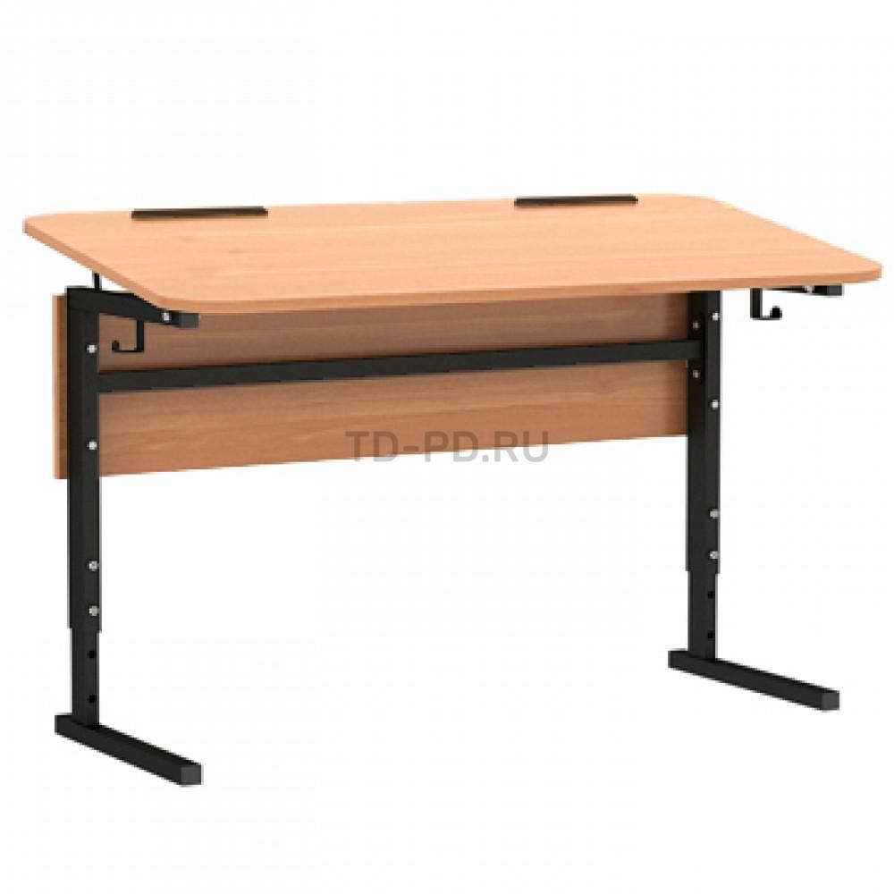 Стол 2-м. регулир. высота и наклон столешницы 0-10°, с закруглением