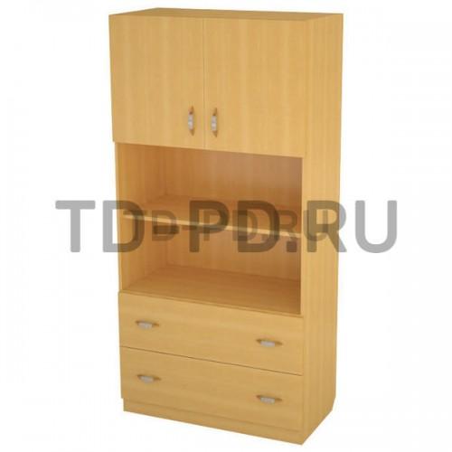 Шкаф 2-х ств. с 2-мя нишами и ящиками