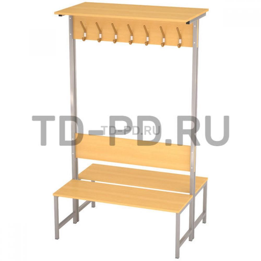 Скамейка-вешалка 2-сторонняя 14-мест. с полкой на метал.каркасе