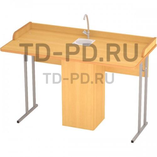 Стол ученический лабораторный с сантехникой 2- местный, ЛДСП 6 гр.